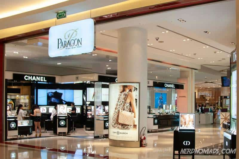 The department store of Paragon mall is an open area over several floors with lots of different brands