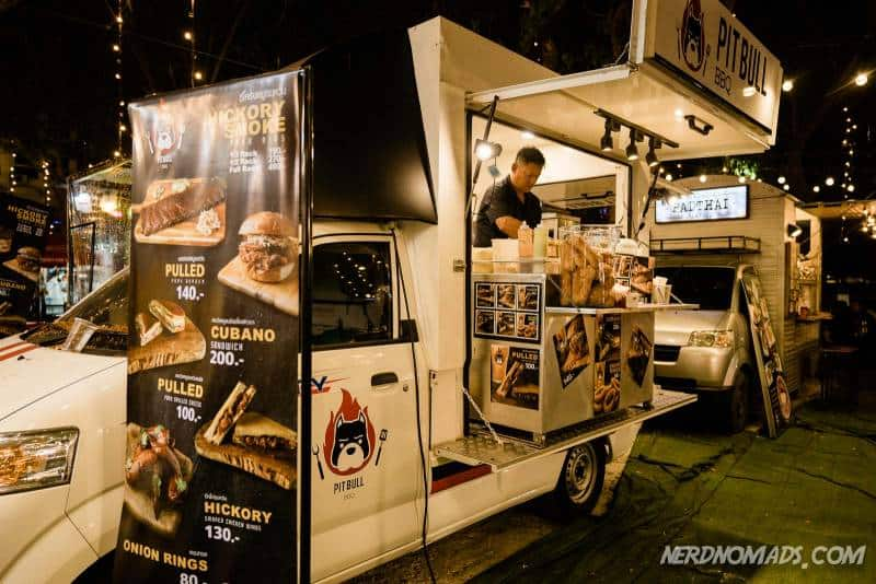 Hipster burger at Artbox Night Market in Bangkok
