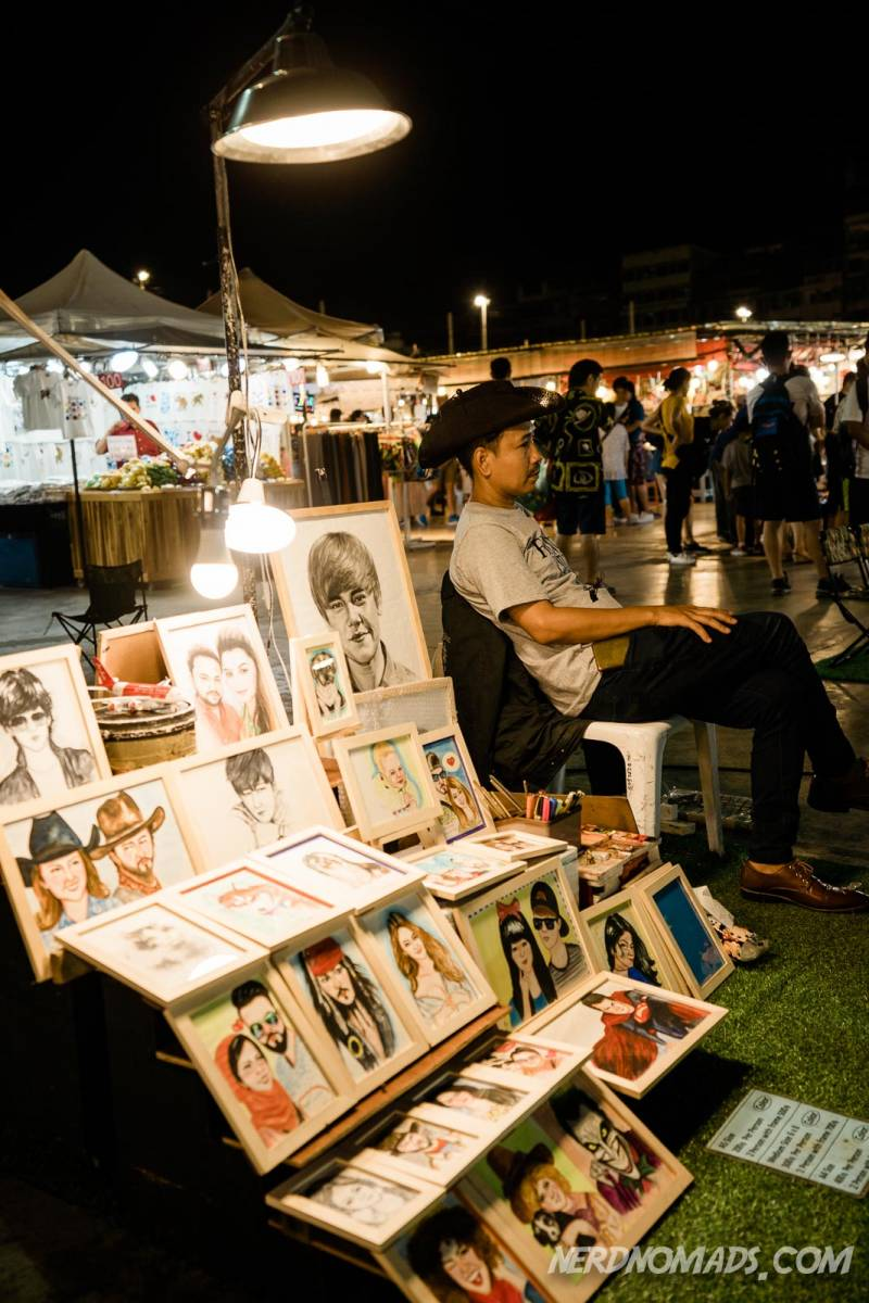 caricature drawings at Neon Market in Bangkok