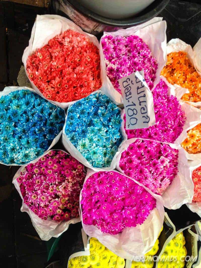 Lots of colorful flowers at Flower Market Pak Khlong Talat in Bangkok