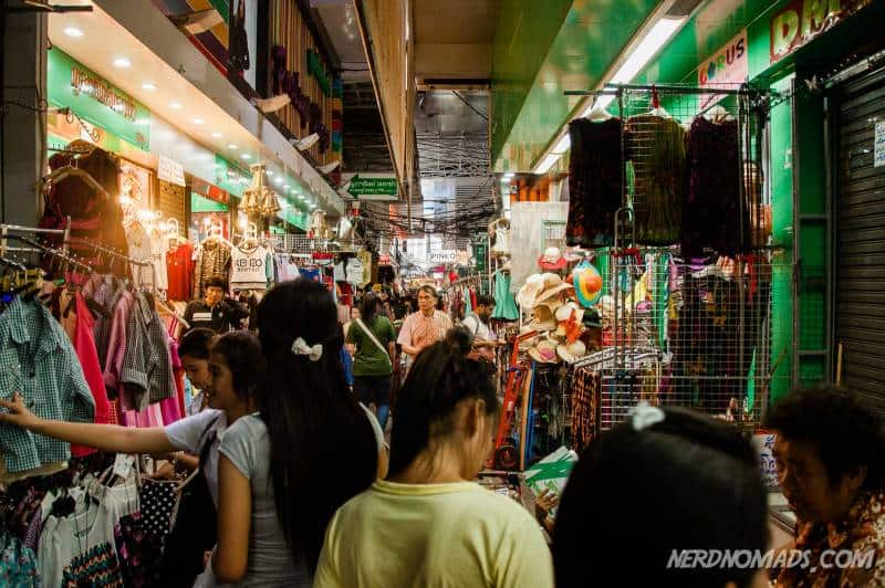 Lots of clothes, shoes, and accessories to shop at Pratunam Market in Bangkok