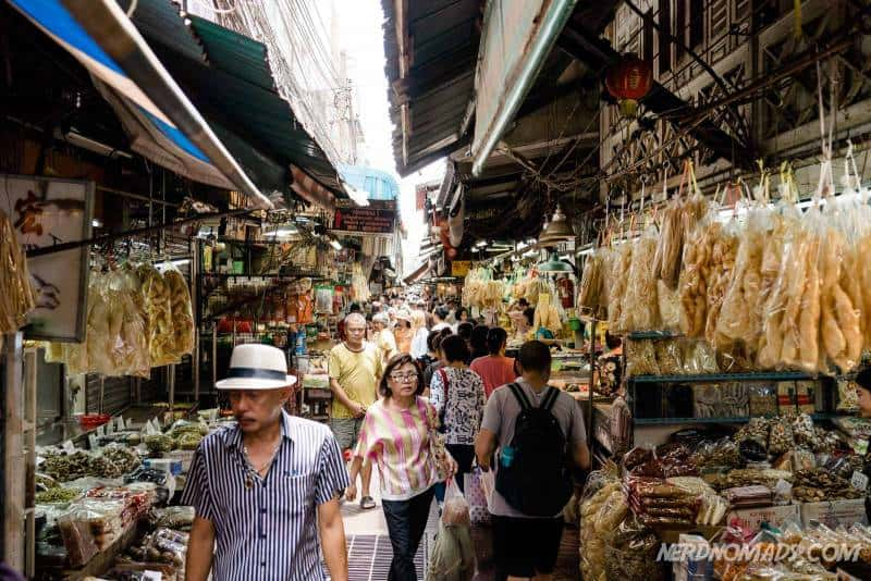 The busy and crowded Sampeng Market in Chinatown Bangkok