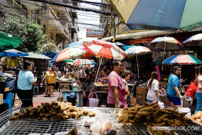 Sampeng Market in Chinatown Bangkok is hot and humid and very busy and crowded