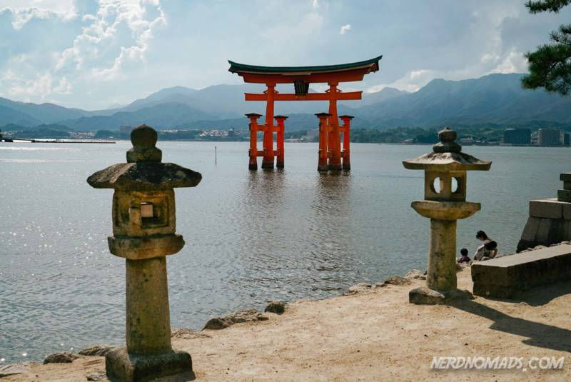 The famous Torii gate of the Itsukushima-jinja Shrine is out in the sea