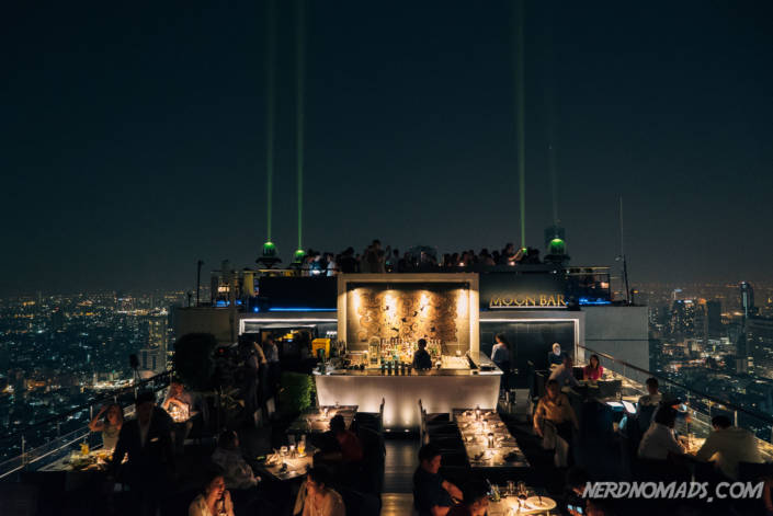 The spectacular open-air Moon bar on the 61st floor of the Banyan Tree Hotel