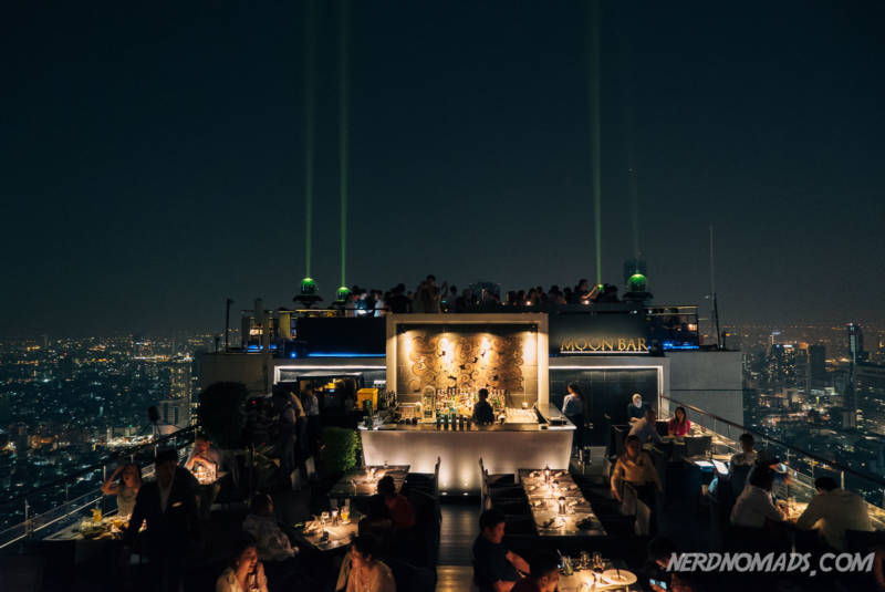 The spectacular open-air Moon bar on the 61st floor of the Banyan Tree Hotel in Bangkok