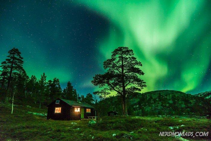 Northern Lights dancing over our cabin in Kvaenangen.