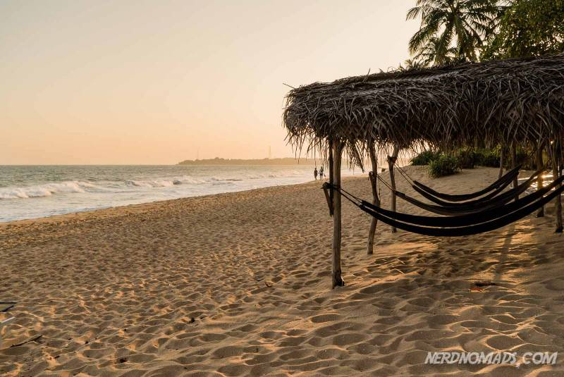 Hammocks at Tangalle Beach in Sri Lanka