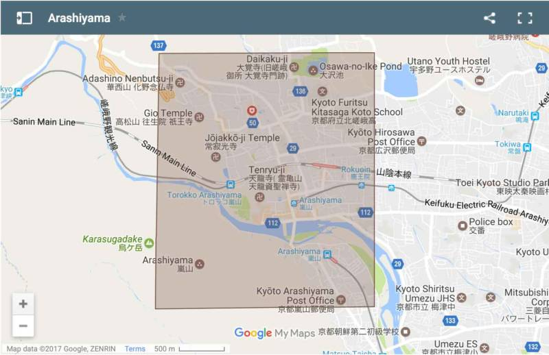 Arashiyama area map