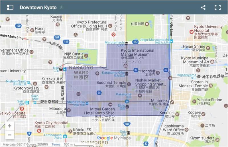 Die Innenstadt von Kyoto Karte