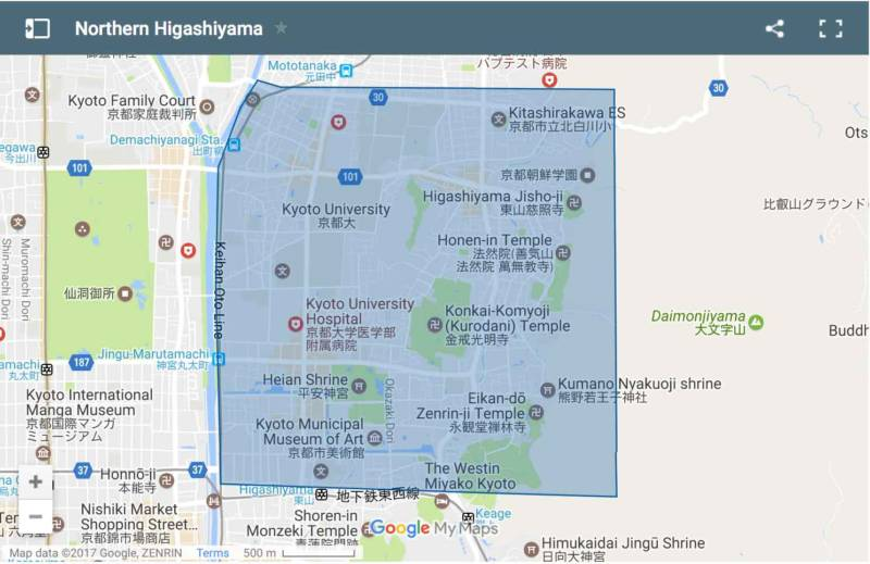 Northern Higashiyama area map