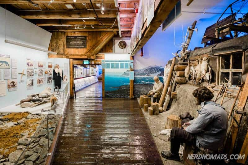 Inside the Polar Museum you can see old hunting cabins on displays