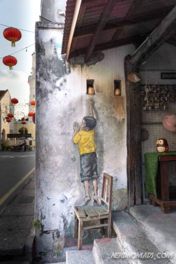 Boy On A Chair mural George Town Penang