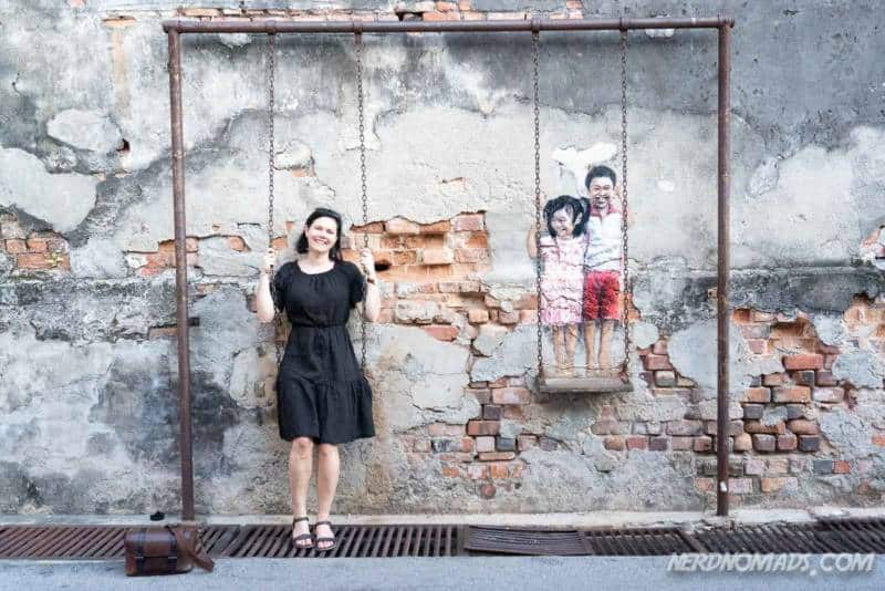 Brother And Sister On A Swing mural George Town Penang