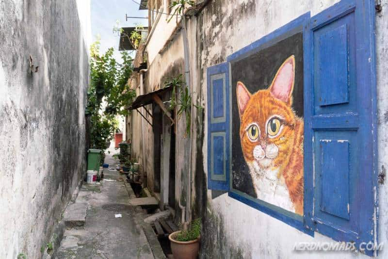 Cat In Window mural George Town Penang