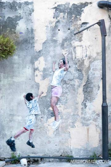 Children Playing Basketball mural George Town Penang