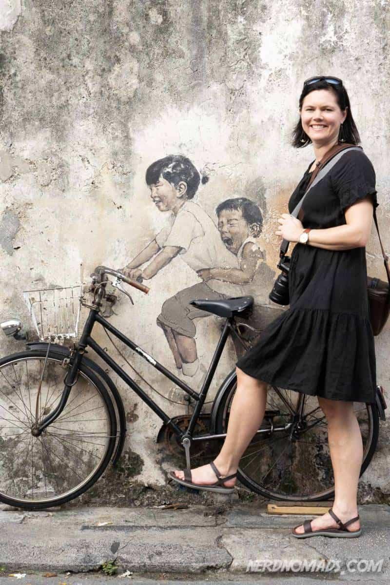 Kids on bicycle street art George Town Penang