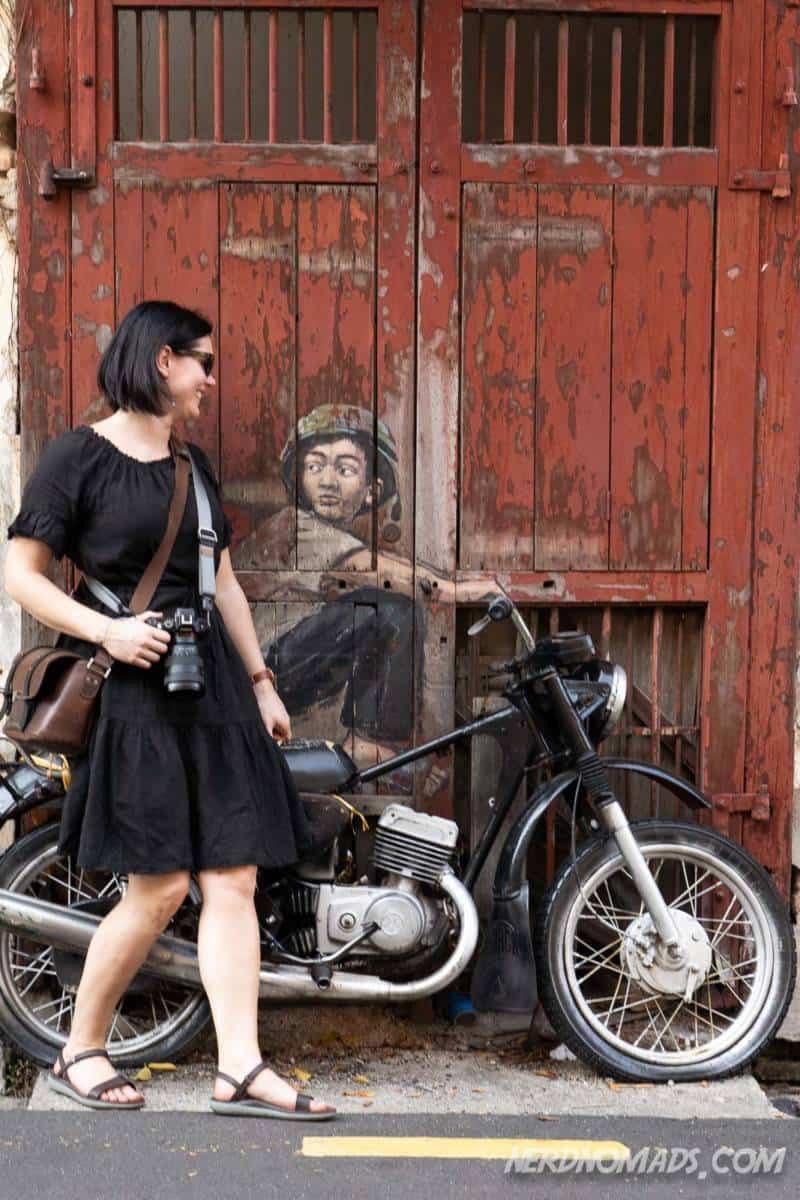 Old Motorcycle mural George Town Penang