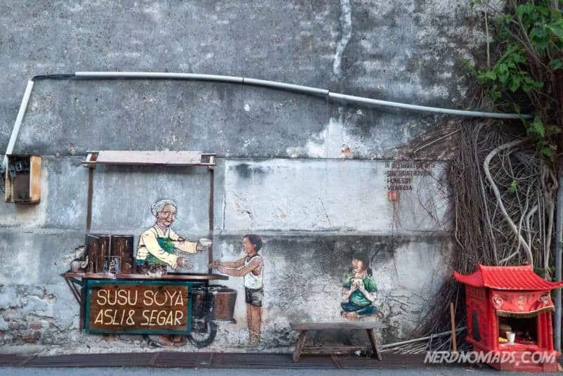 Street food mural George Town Penang