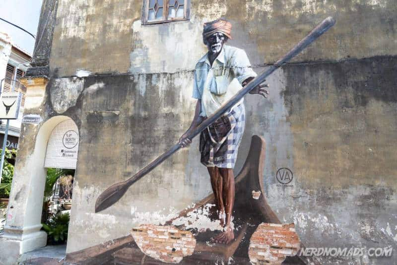 The Indian Boatman mural George Town Penang