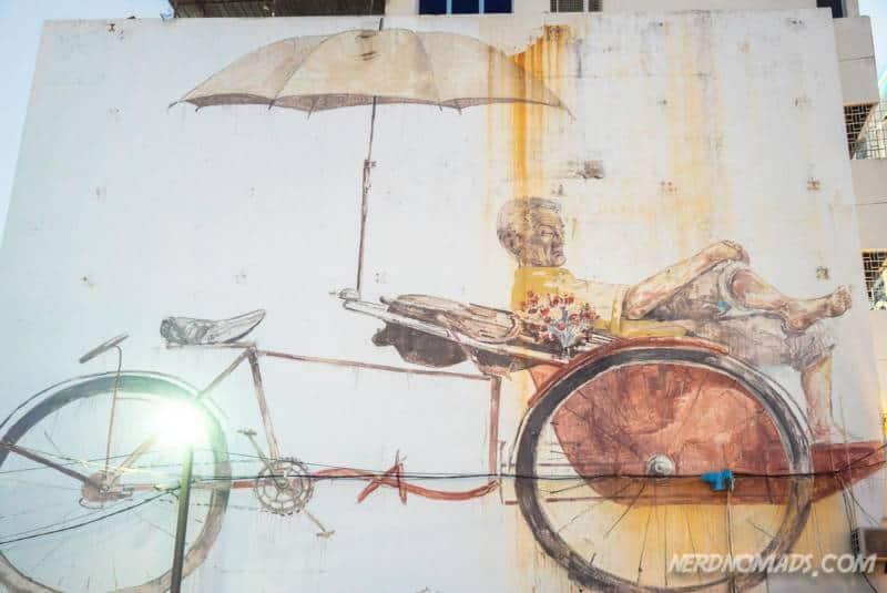 Trishaw Man mural George Town Penang
