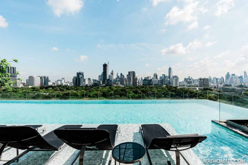 Infinity pool at So Sofitel Bangkok on a sunny day