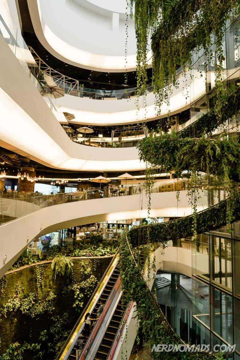 The Emquartier shopping mall in Bangkok has a hip and cool vibe