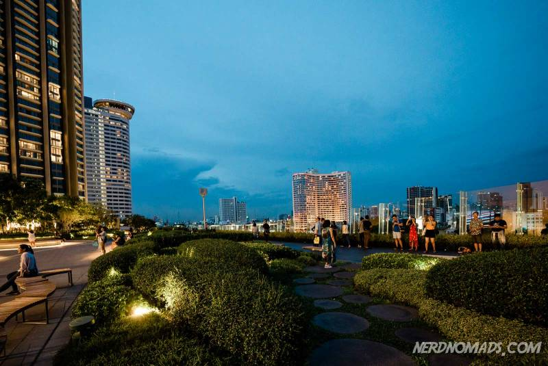IconSiam has a rooftop park with awesome views of the Bangkok skyline