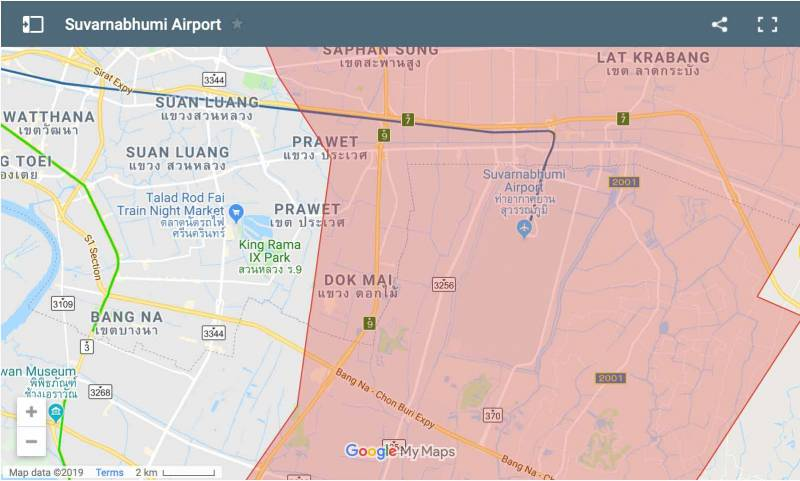 map of the area surrounding Suvarnabhumi airport