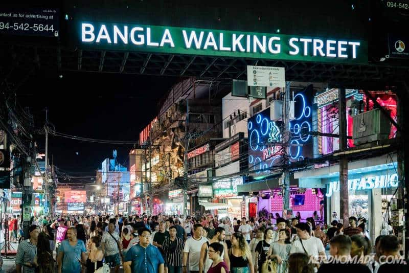 The entrance to Bangla Walking Street, always packed with partying people in the evenings