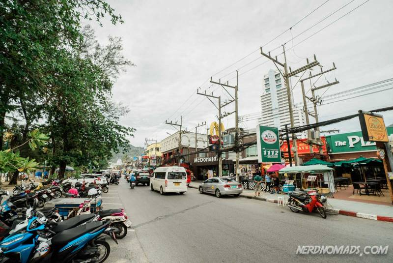 The Beach Road in Patong runs along Patong Beach and is lined with restaurants, cafes, and pubs