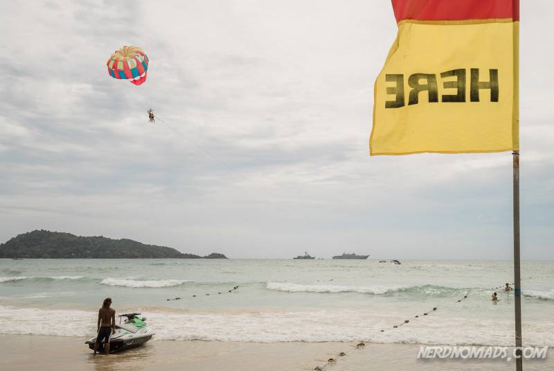Parasailing and jet skis are popular activities in Patong Beach Phuket
