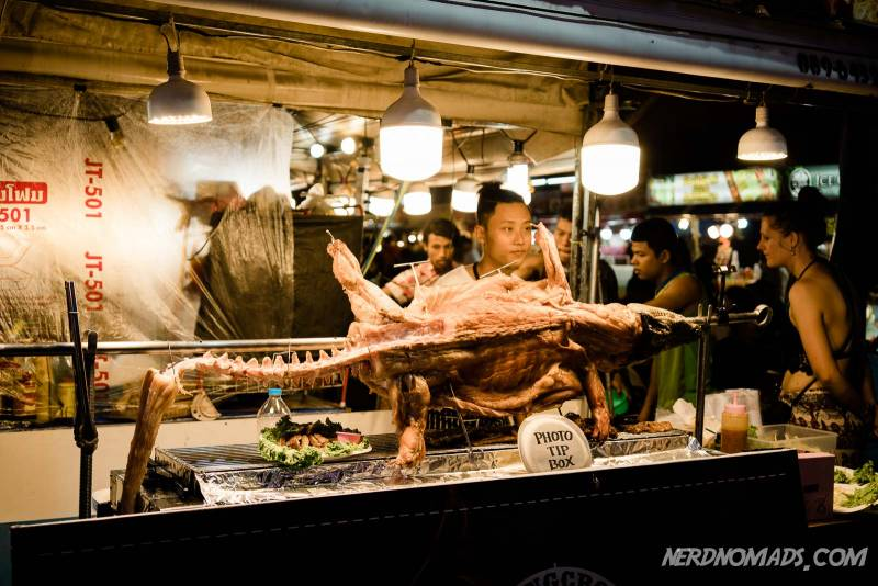 A barbecued crocodile in Bangla Walking Street in Patong, Phuket