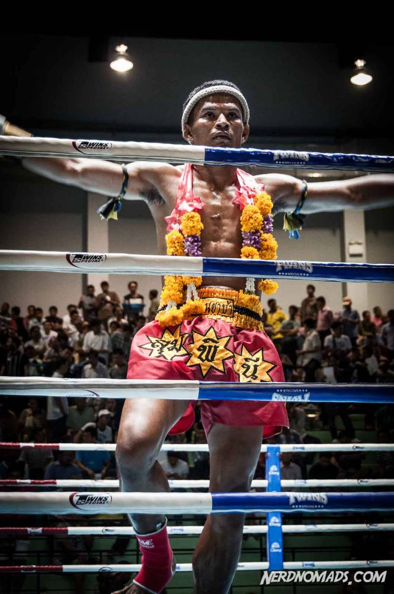A Muay Thai fighter celebrating his victory