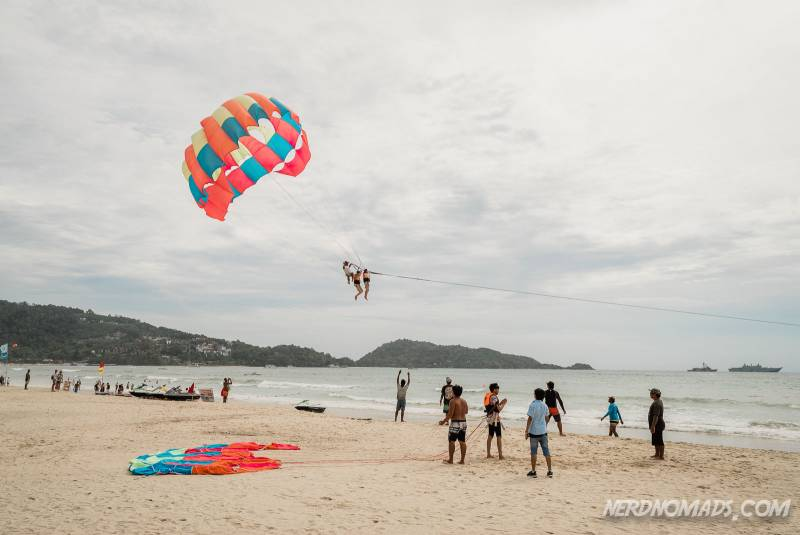Parasailing is a big sport in Patong Beach, Phuket