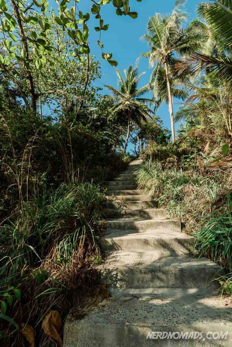 The path with stairs to Freedom Beach Phuket, Thailand