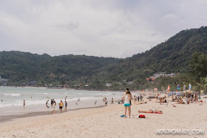 The busy Patong Beach in Phuket, Thailand