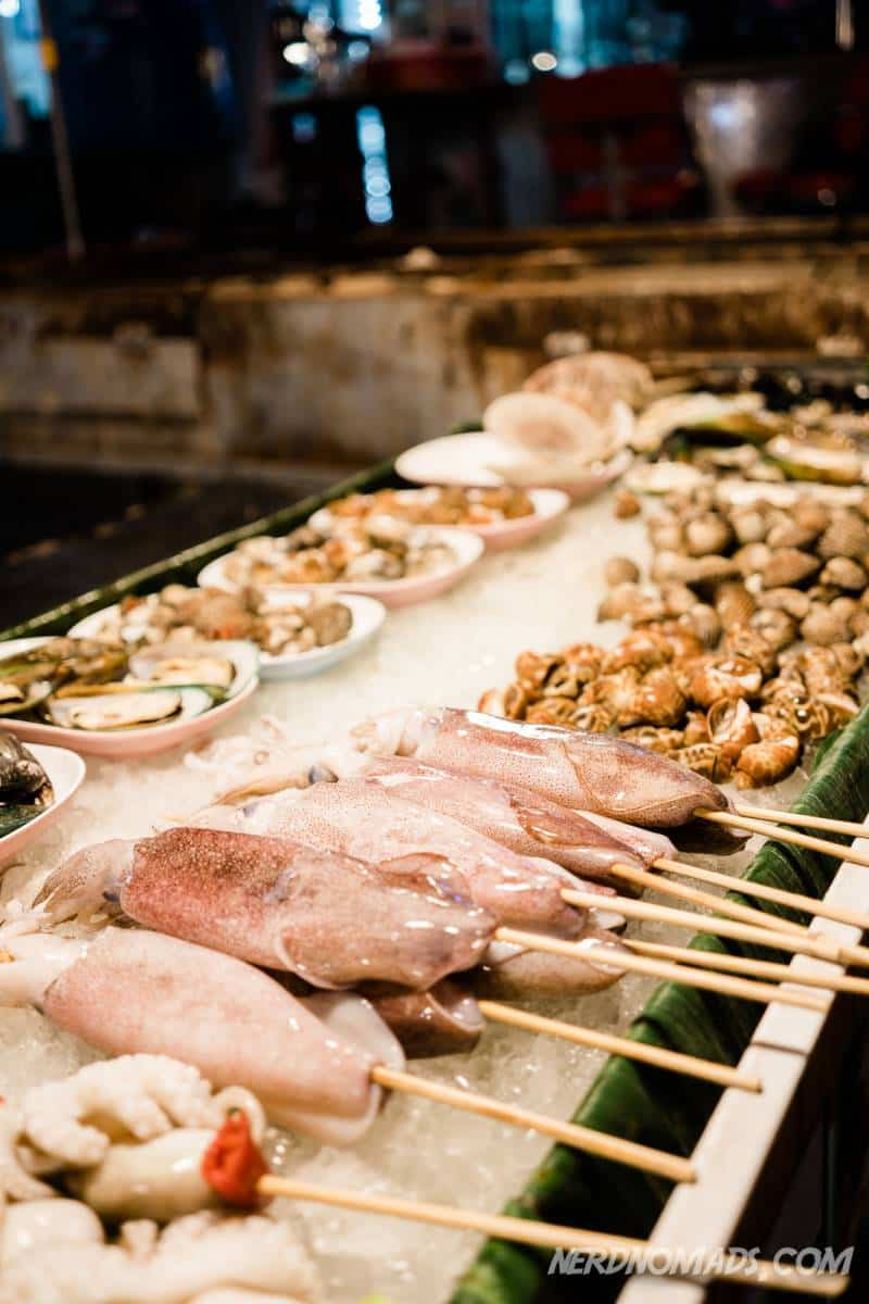 Delicious barbecued sea food at a market in Patong Beach, Phuket