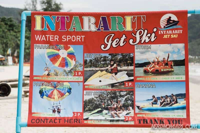 A poster showing the beach sport activities and prices at Patong Beach, Phuket, Thailand