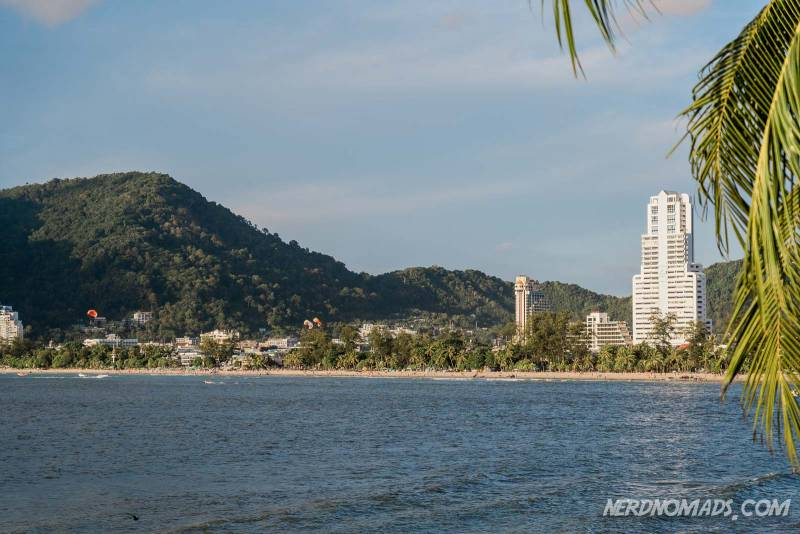 Patong Beach is a long stretch of while sand in Phuket, Thailand