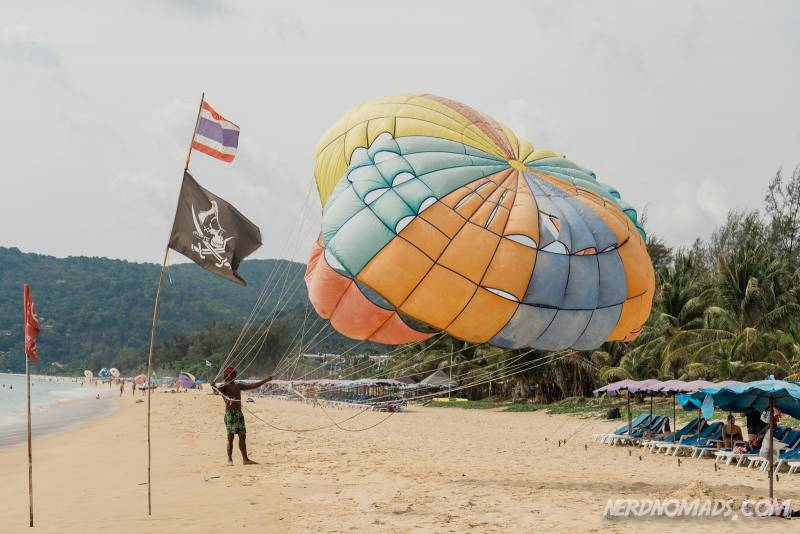 A parasailed trying to launch his balloon at Karon Beach Phuket