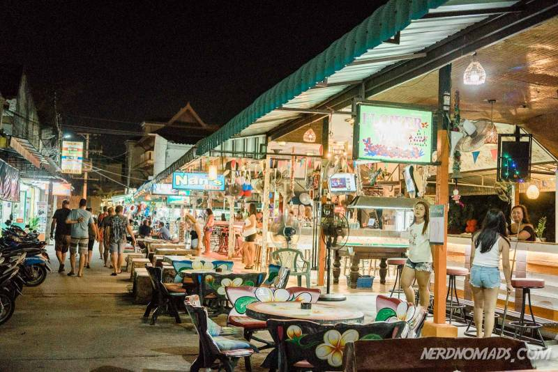 Karon Beach in Phuket has some nightlife and the bar street is popular