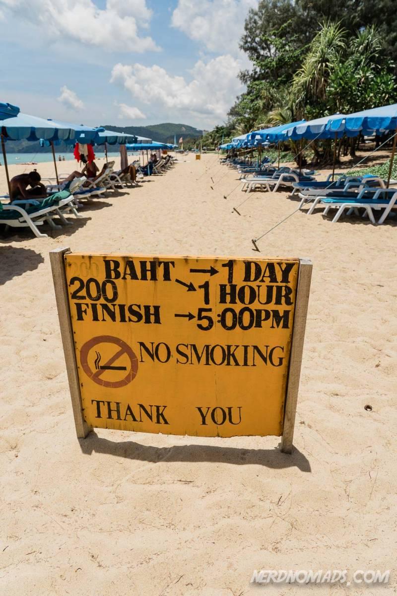 You can rent sun beds at Karon Beach Phuket