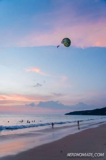 Parasailing at sunset at Karon Beach Phuket