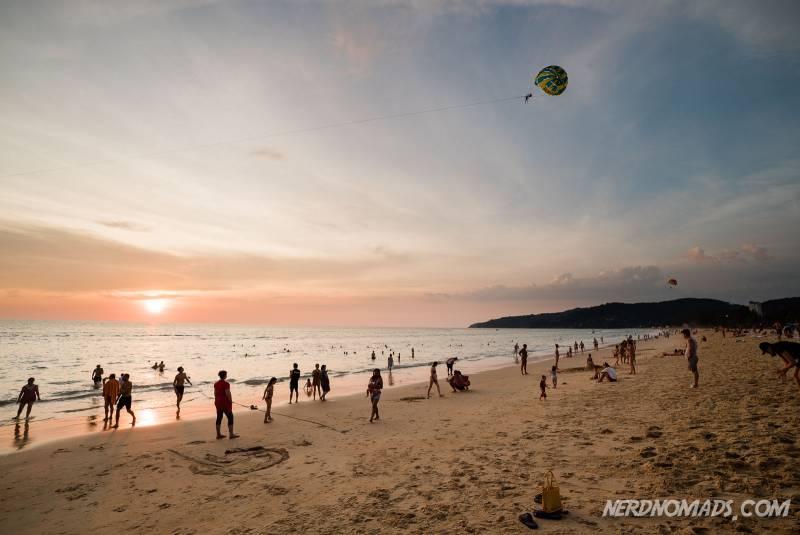 Sunset with lots of people at Karon Beach Phuket