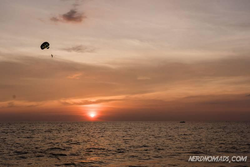 Lovely orange sunset at Karon Beach Phuket Thailand