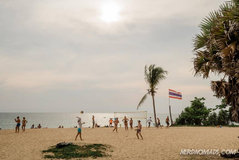 Beach volleyball is popular at Karon Beach Phuket Thailand