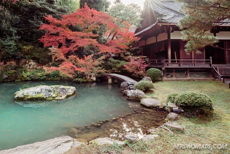 Shoren-in temple is a lovely temple with a nice atmosphere and a beautiful garden with a pond