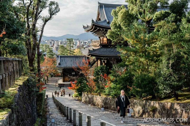 A monk at Chion-in Temple in Kyoto