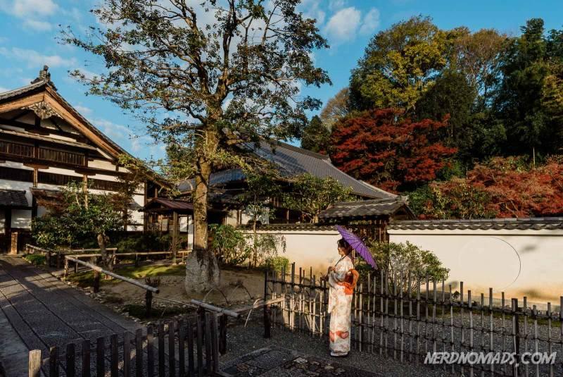 Kimono girl at Kodaiji Temple in Kyoto, Japan
